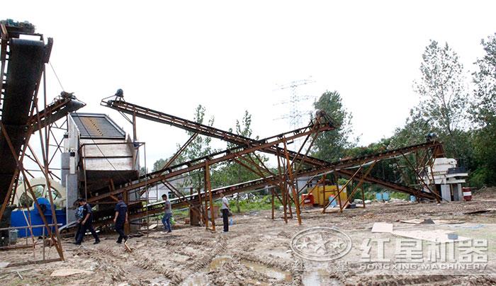 固定碎石制沙生产线现场