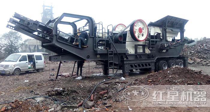 轮胎移动建筑垃圾破碎机