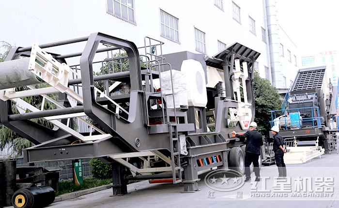 红星可移动石子机用户到厂实地考察