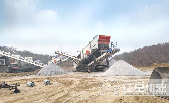 履带移动式沙子生产设备生产现场