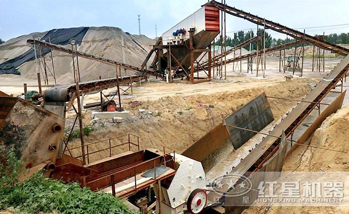 时产30方石子生产线锤式破碎机施工现场