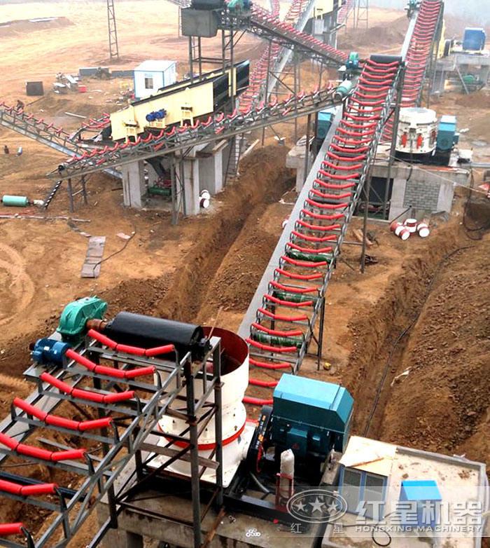 时产500吨固定砂石生产线现场