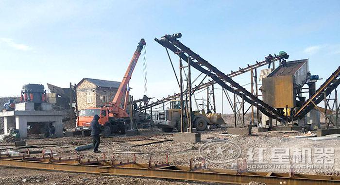 固定砂石料生产线安装现场