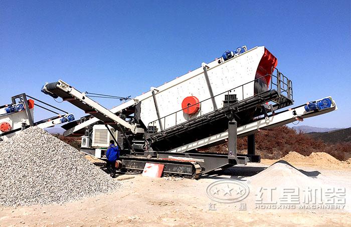 履带移动石头加工机器单机作业