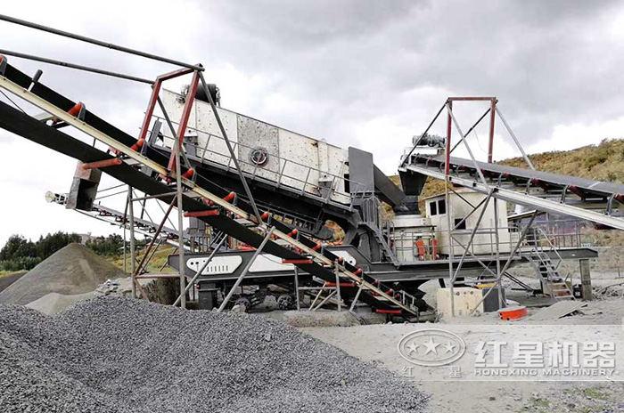 河北唐山圆锥一体式移动制砂机生产现场