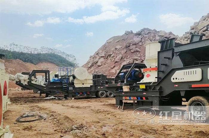 河北石家庄200吨圆锥破移动破碎机生产现场