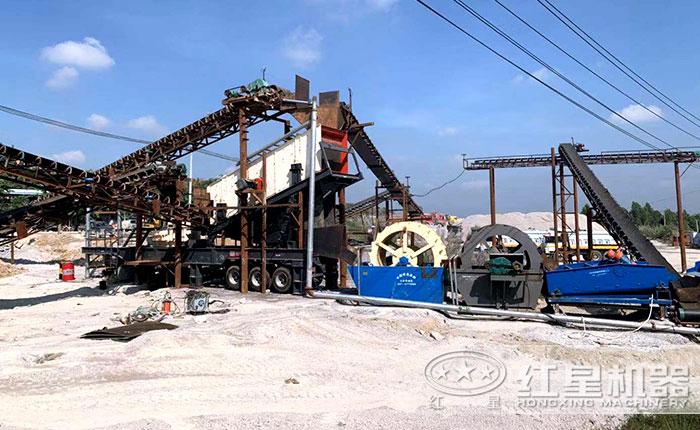 移动制砂机生产线现场
