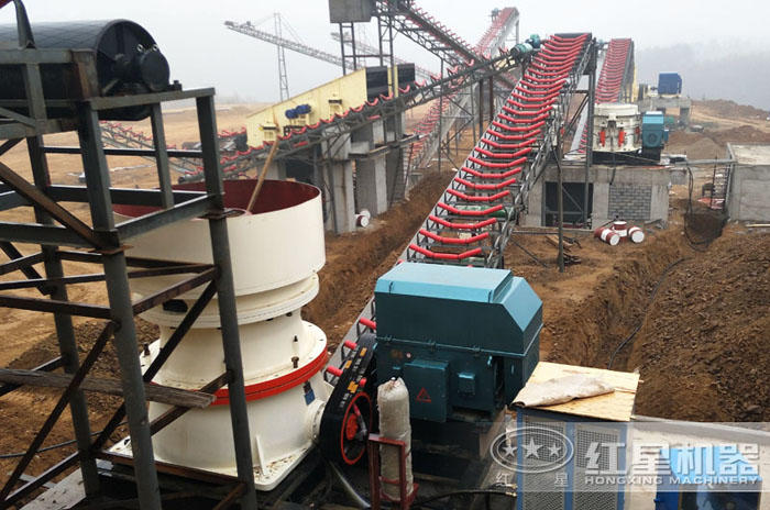 高硬度石灰石大型碎石生产线现场