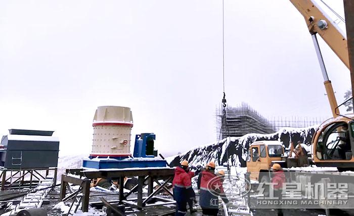 山东用户煤矸石粉碎机安装现场
