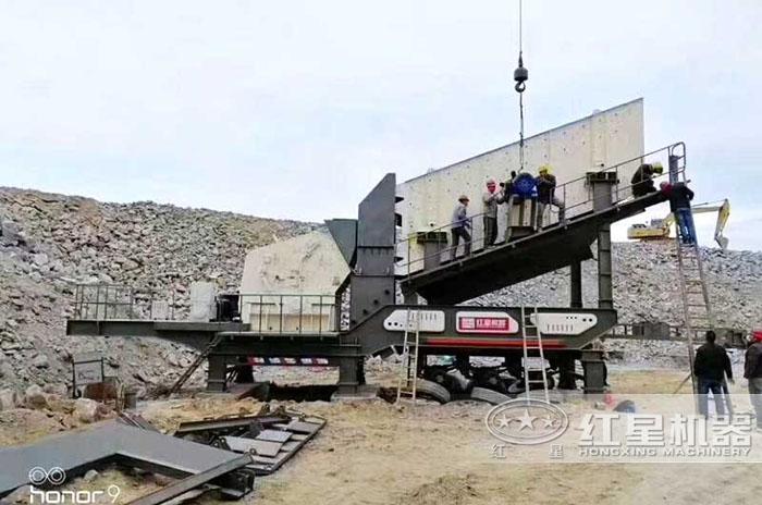 时产100吨移动式破碎机生产现场——山西
