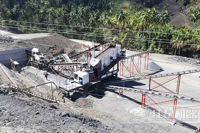 时产100吨圆锥移动式破碎机生产现场——广西
