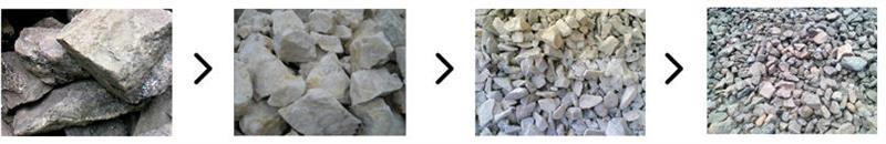 青石破碎成不同粒度大小石子