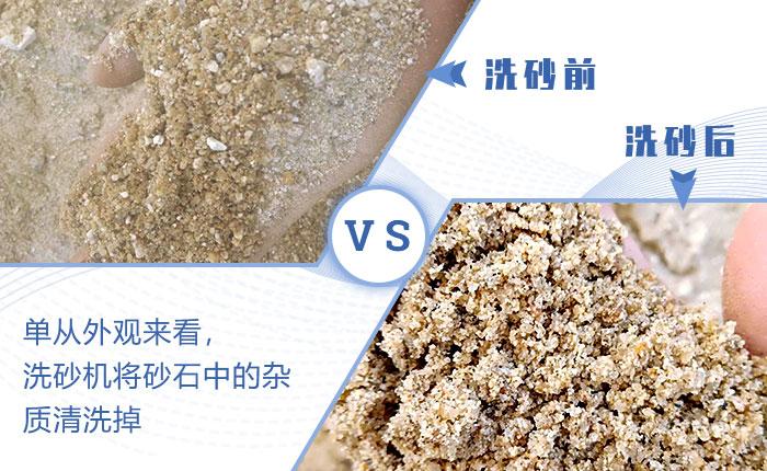 成品砂清洗前后对比