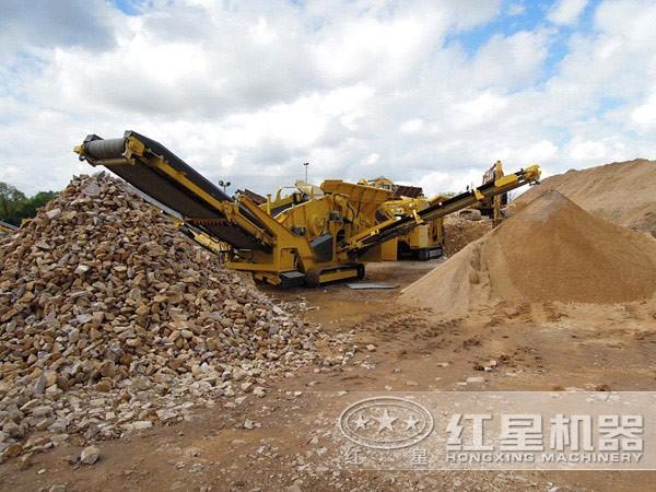 新型移动式破碎站处理建筑垃圾